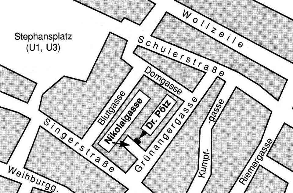 Lageplan - Dr. Herbert Pötz Anästhesie Akupunktur Narkose Narkosearzt Wien 1010